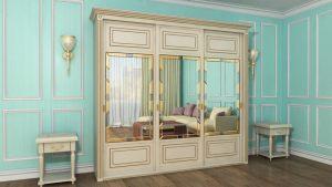 Шкаф купе с фрезеровкой и зеркальным панно Анапа