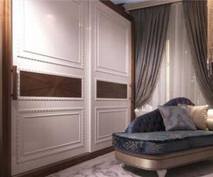 Шкаф купе с эмитацией филенки и фигурной накладкой, ламинация, шпон, эмаль Анапа