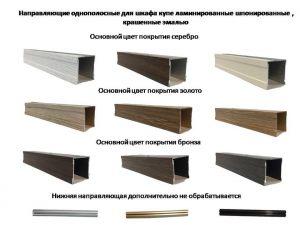Направляющие однопосные для шкафа купе ламинированные, шпонированные, крашенные эмалью Анапа