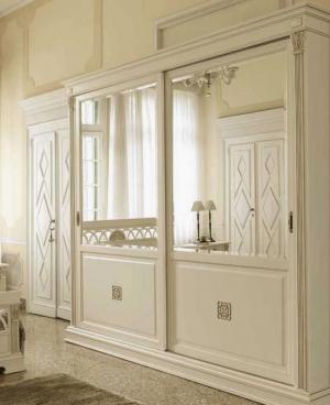 Шкаф купе с филенкой и декоративной накладкой эмаль Анапа